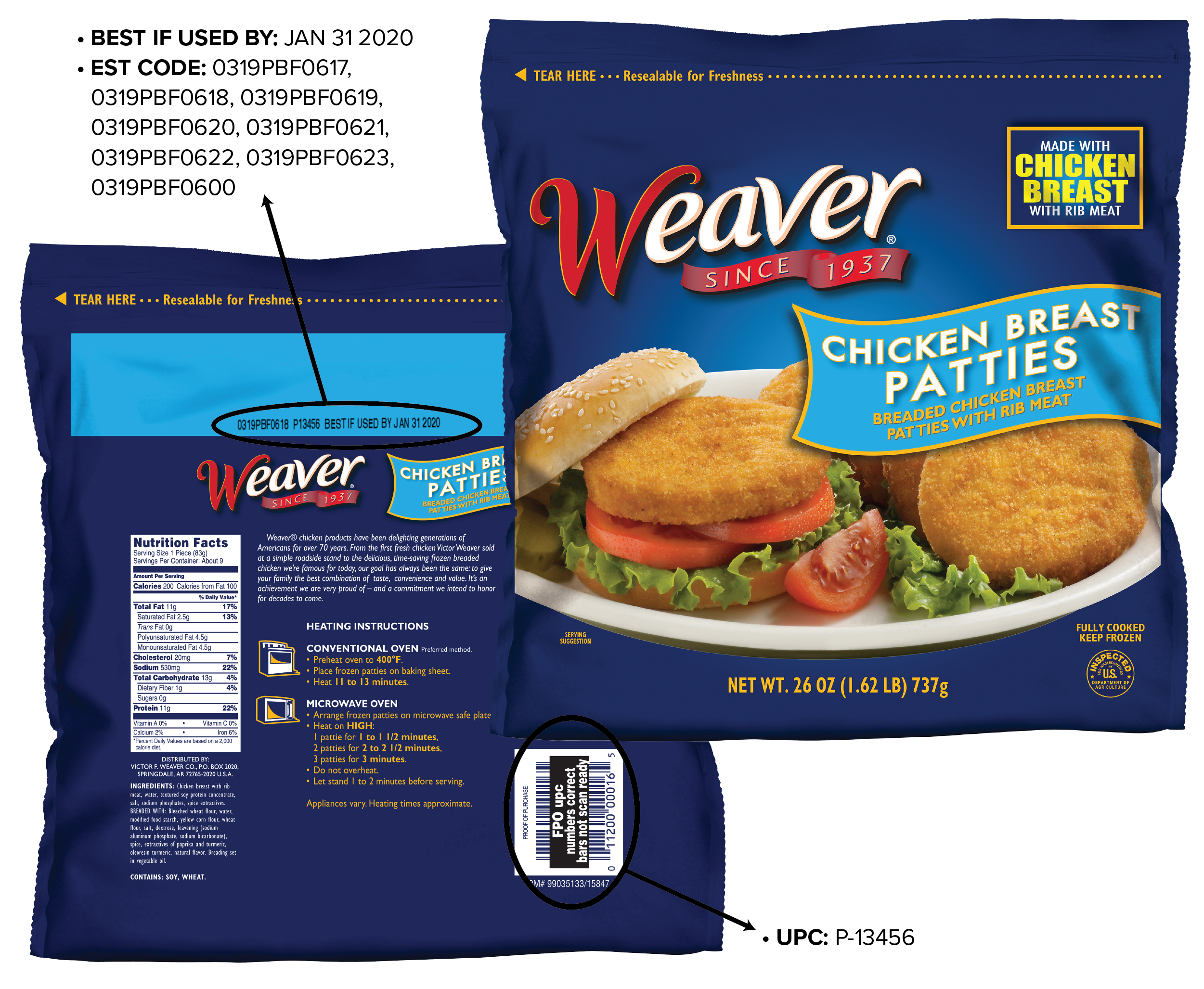 Where UPC and date code locations are on the Weaver® Brand Chicken Patties package.